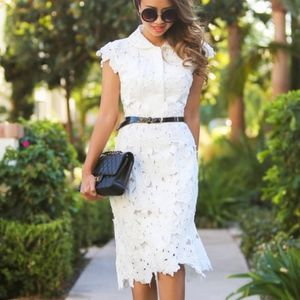 Chicwish White Floral Lace Dress